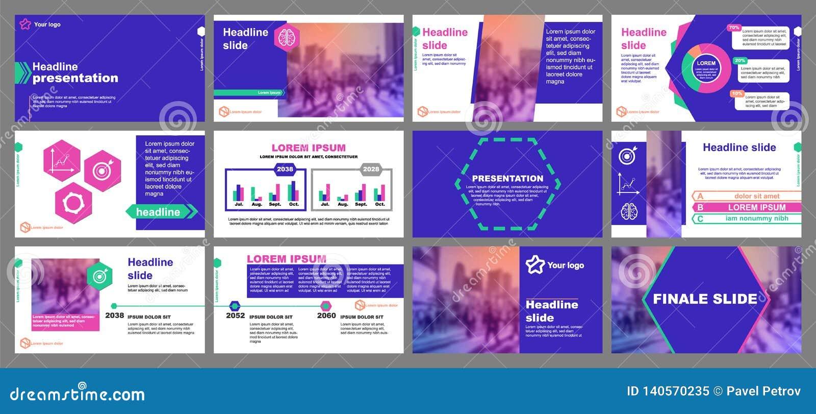 Groene en roze elementen voor infographics op een blauwe achtergrond Presentatiemalplaatjes Hexagon element Gebruik in vlieger