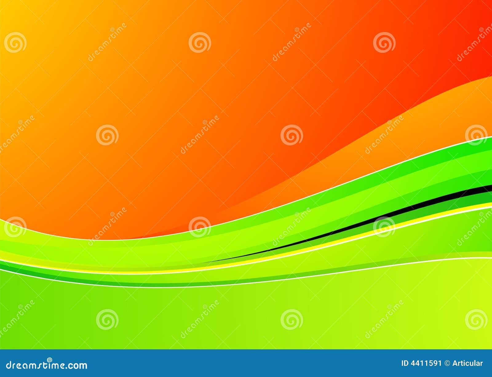 Groene golf op oranje achtergrond voor ontwerp