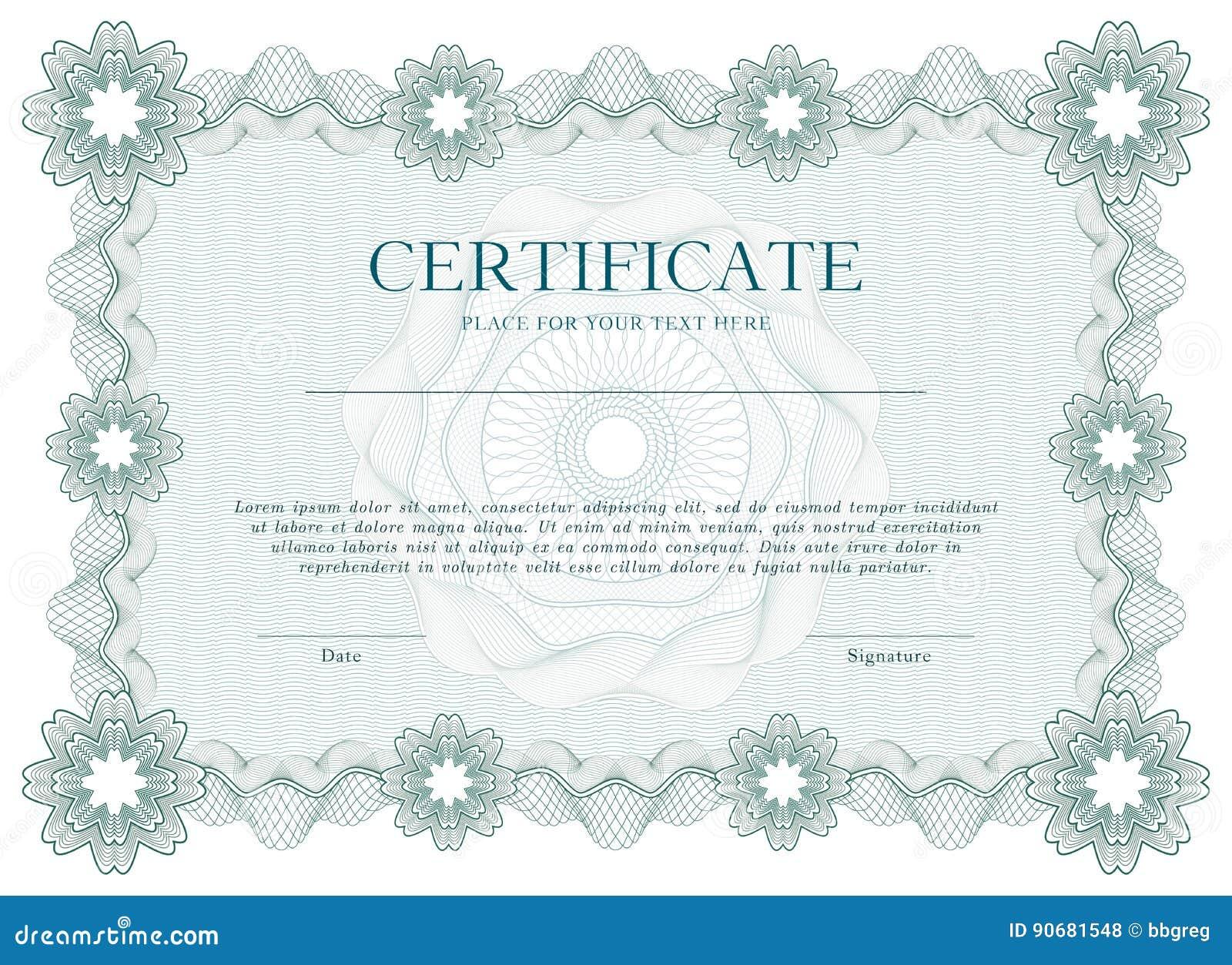 Groene Guilloche certificaat of van het diplomamalplaatje achtergrond, modern ontwerp Vector illustratie