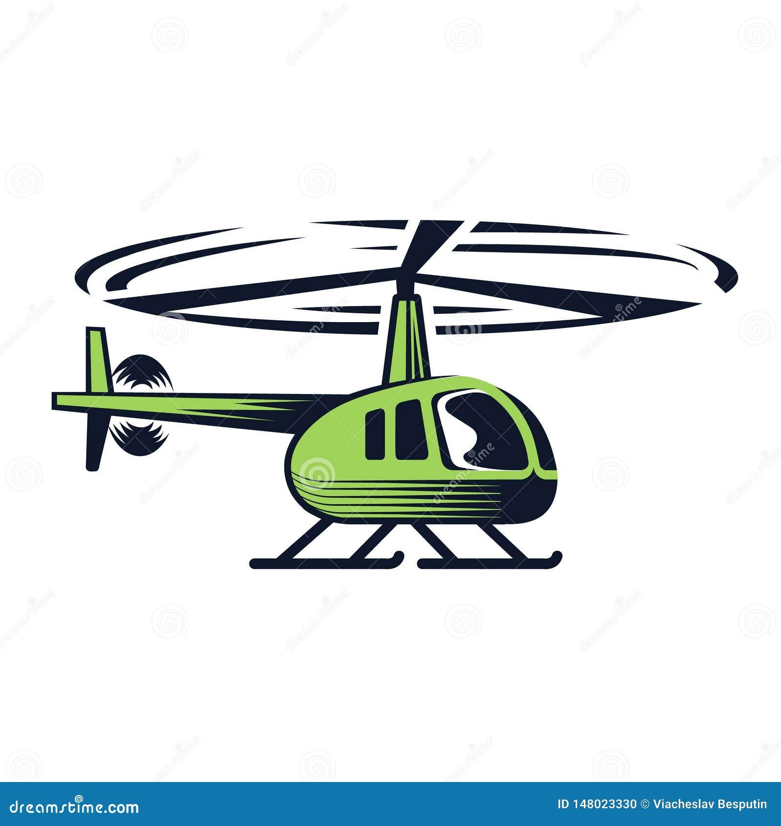 Groene helikopter op een witte achtergrond