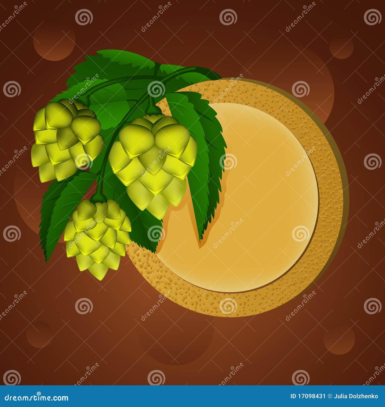 Groene hop en bieronderlegger voor glazen