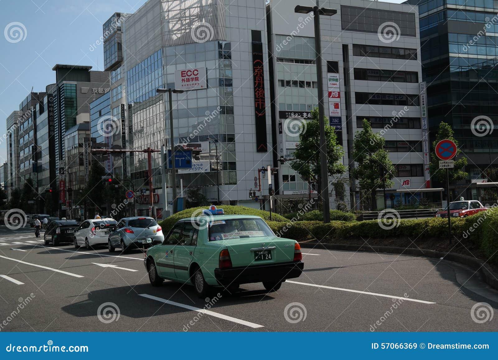 Groene Japanse Taxi in Kyoto, Japan