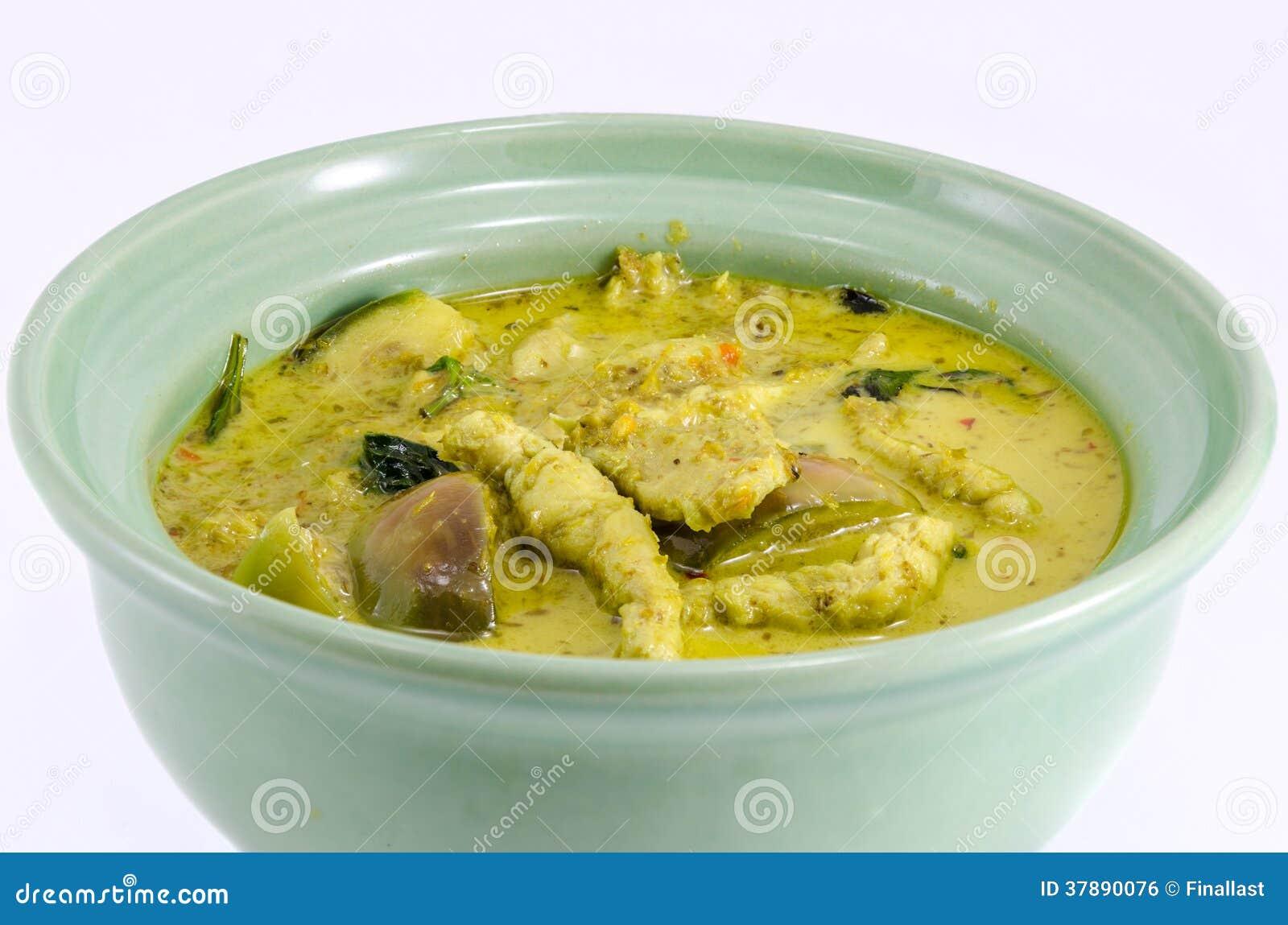 Groene kerrie met kip