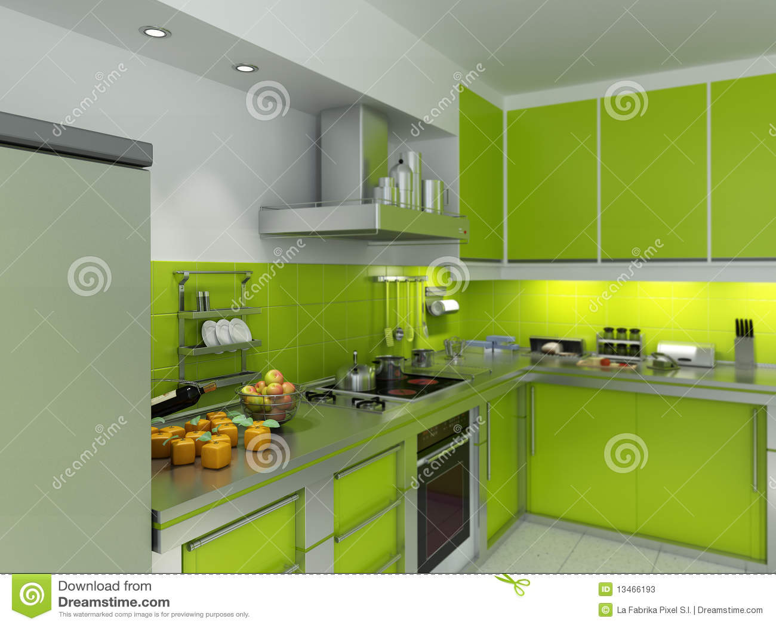 Groene keuken stock foto 39 s afbeelding 13466193 - Koelkast groen ...