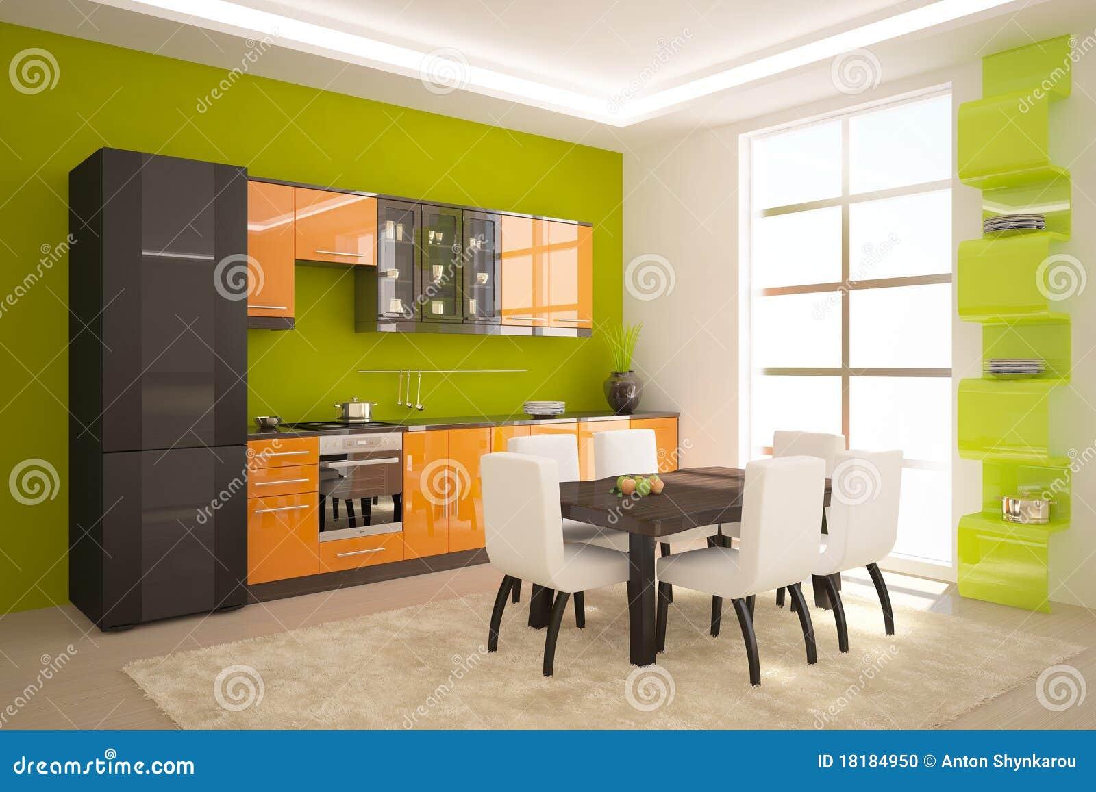 Groene keuken stock foto   afbeelding: 18184950