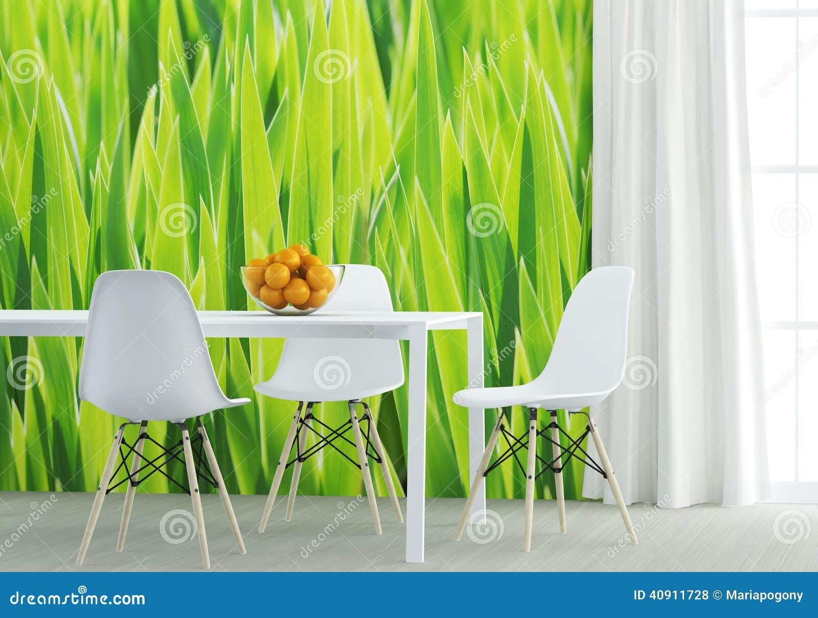 Groene Keuken Muur : Groene Keuken Muur : Houten Stoel Tegen Groene Muur Stock Foto s Beeld