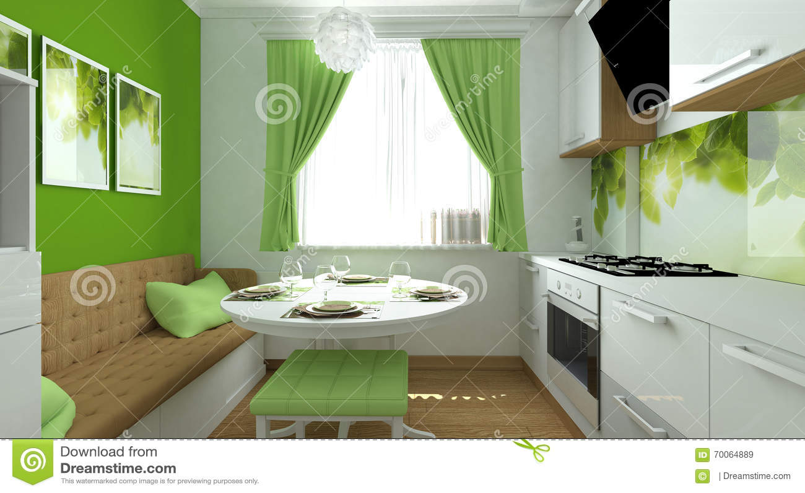 Groene Keuken Stock Foto Afbeelding 70064889