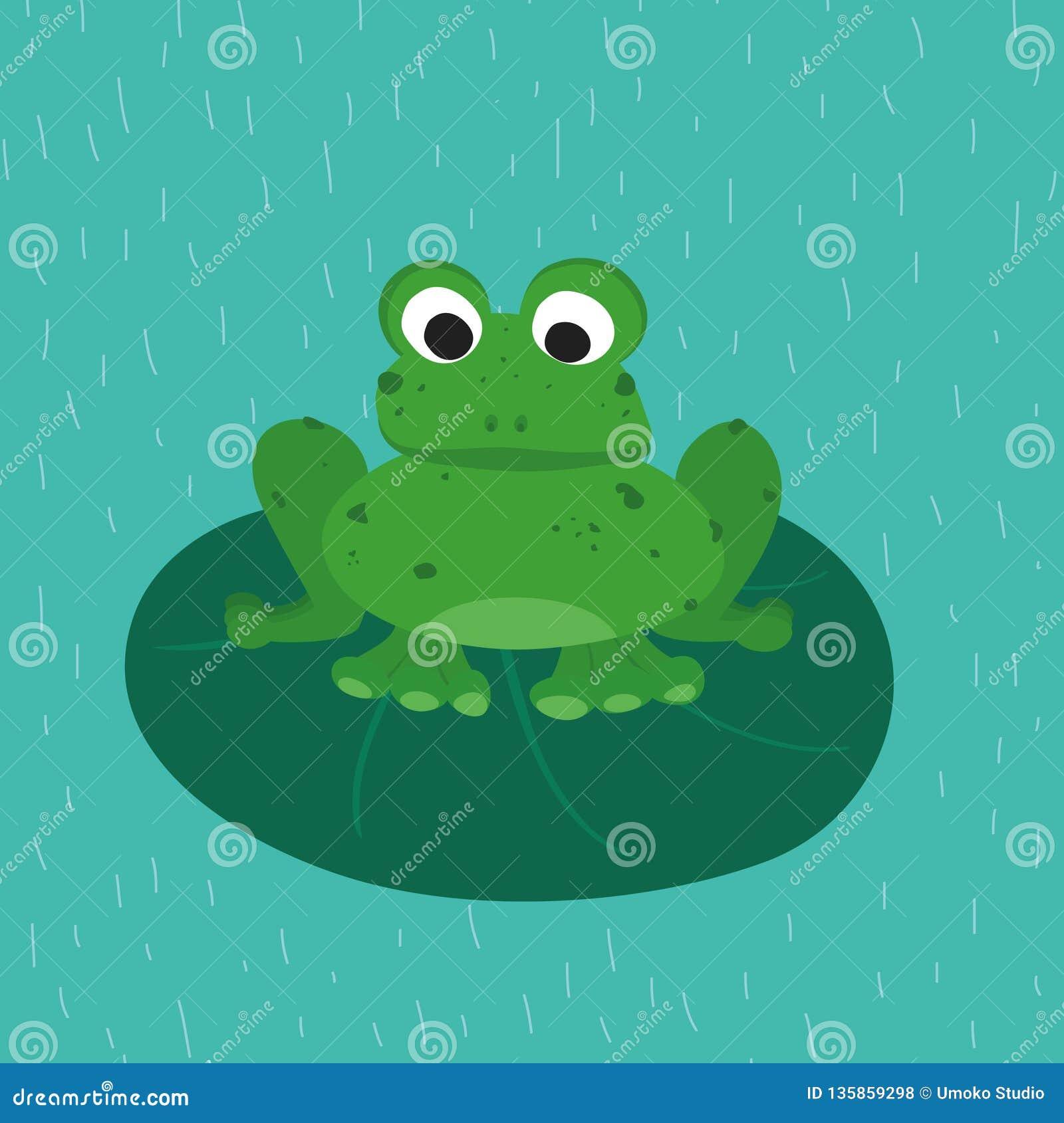 Groene kikker op het groene blad Grappig dier voor kinderen Het karakter van het beeldverhaal