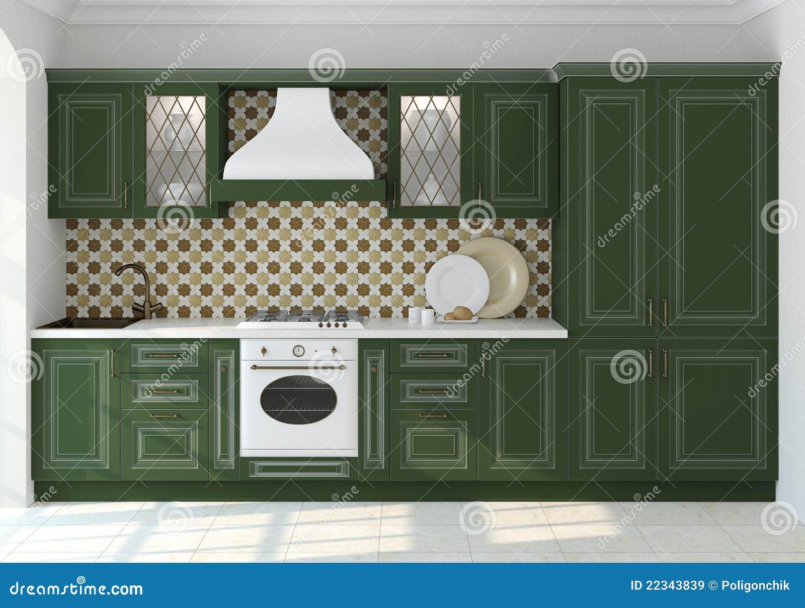 Groene keuken royalty vrije stock foto's   afbeelding: 3976838