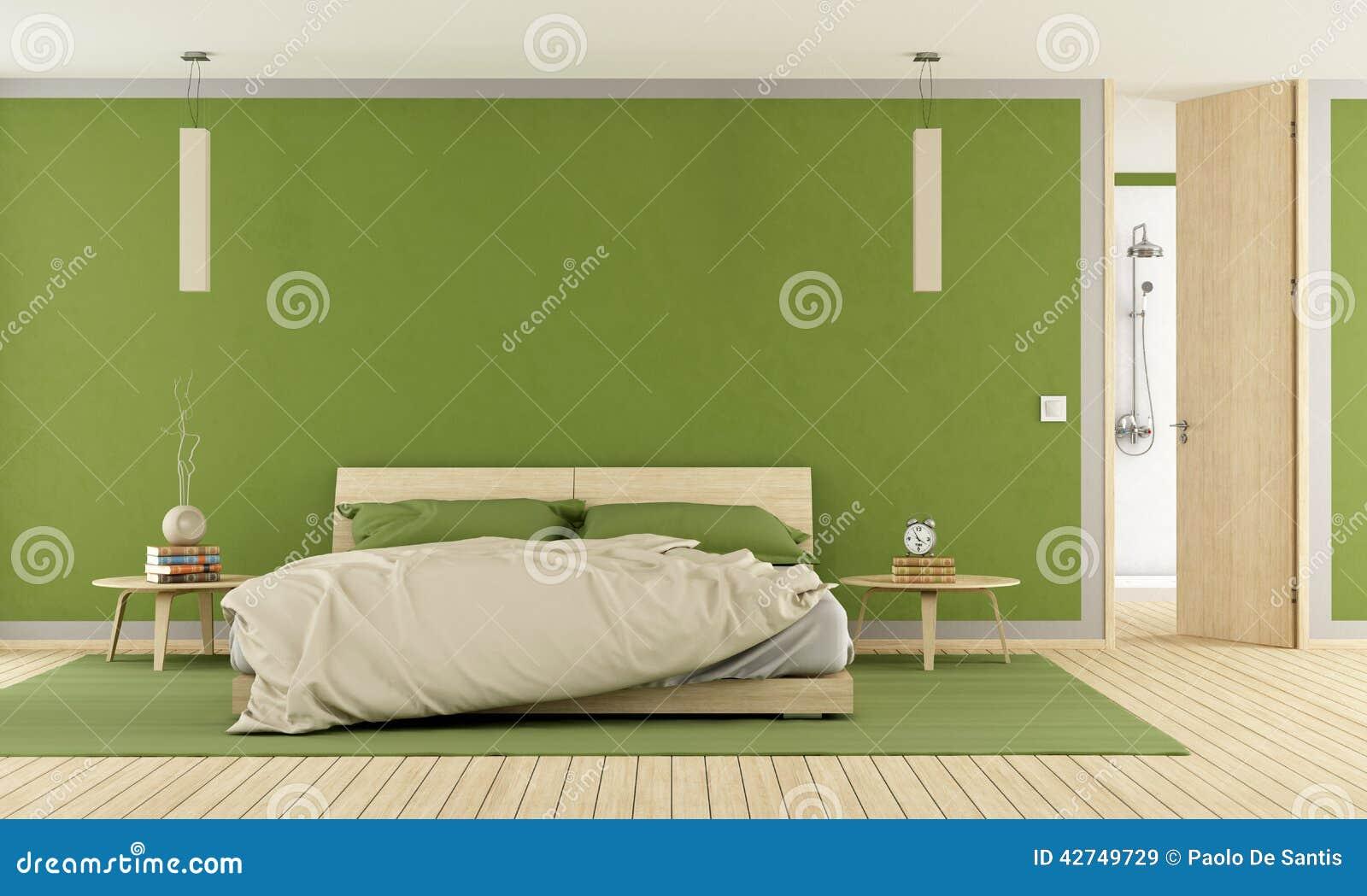 Groene Moderne Slaapkamer Royalty-vrije Stock Fotografie ...