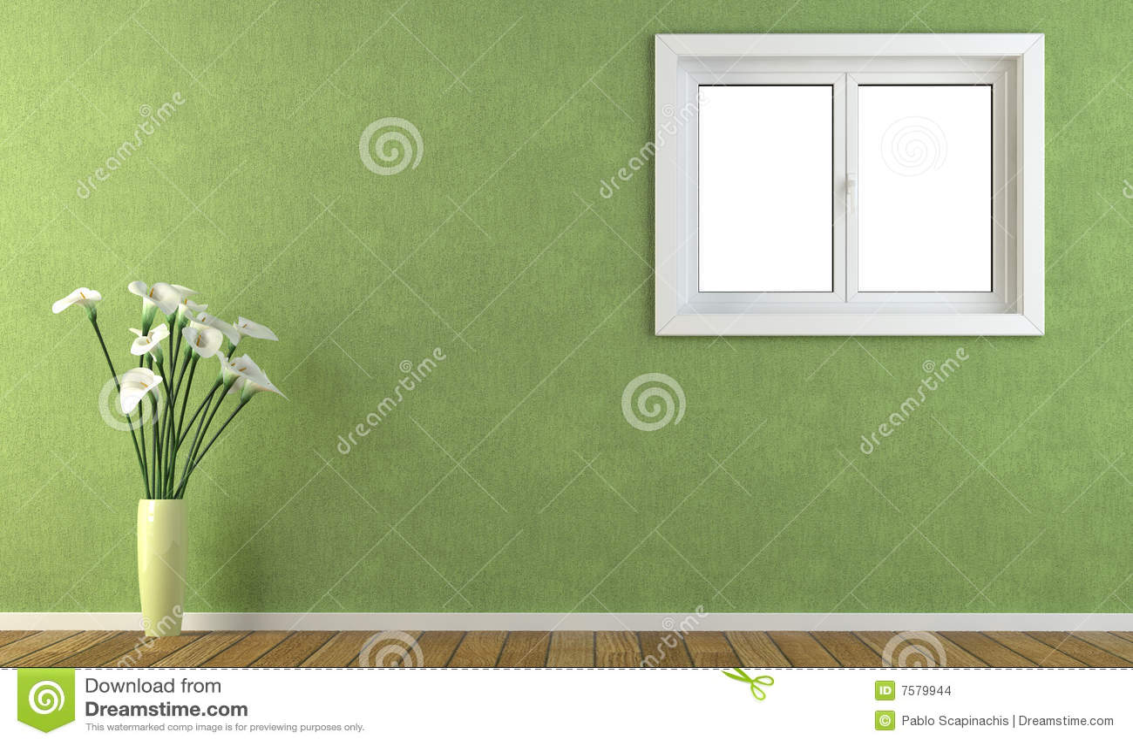 Groene Muur Met Een Venster Stock Afbeeldingen - Beeld: 7579944