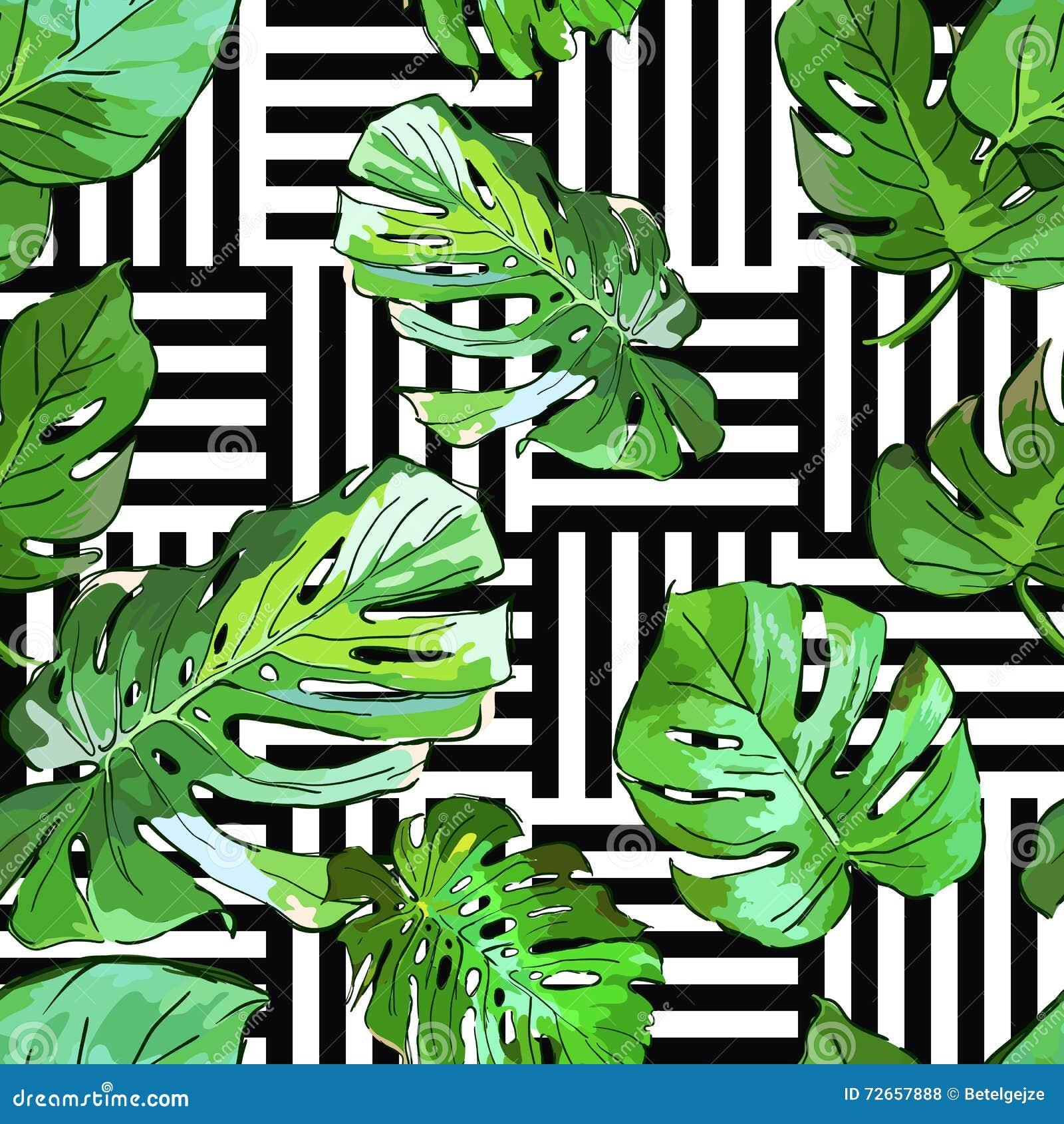Groene palmbladeren op zwart-witte geometrische achtergrond Vector de zomer naadloos patroon