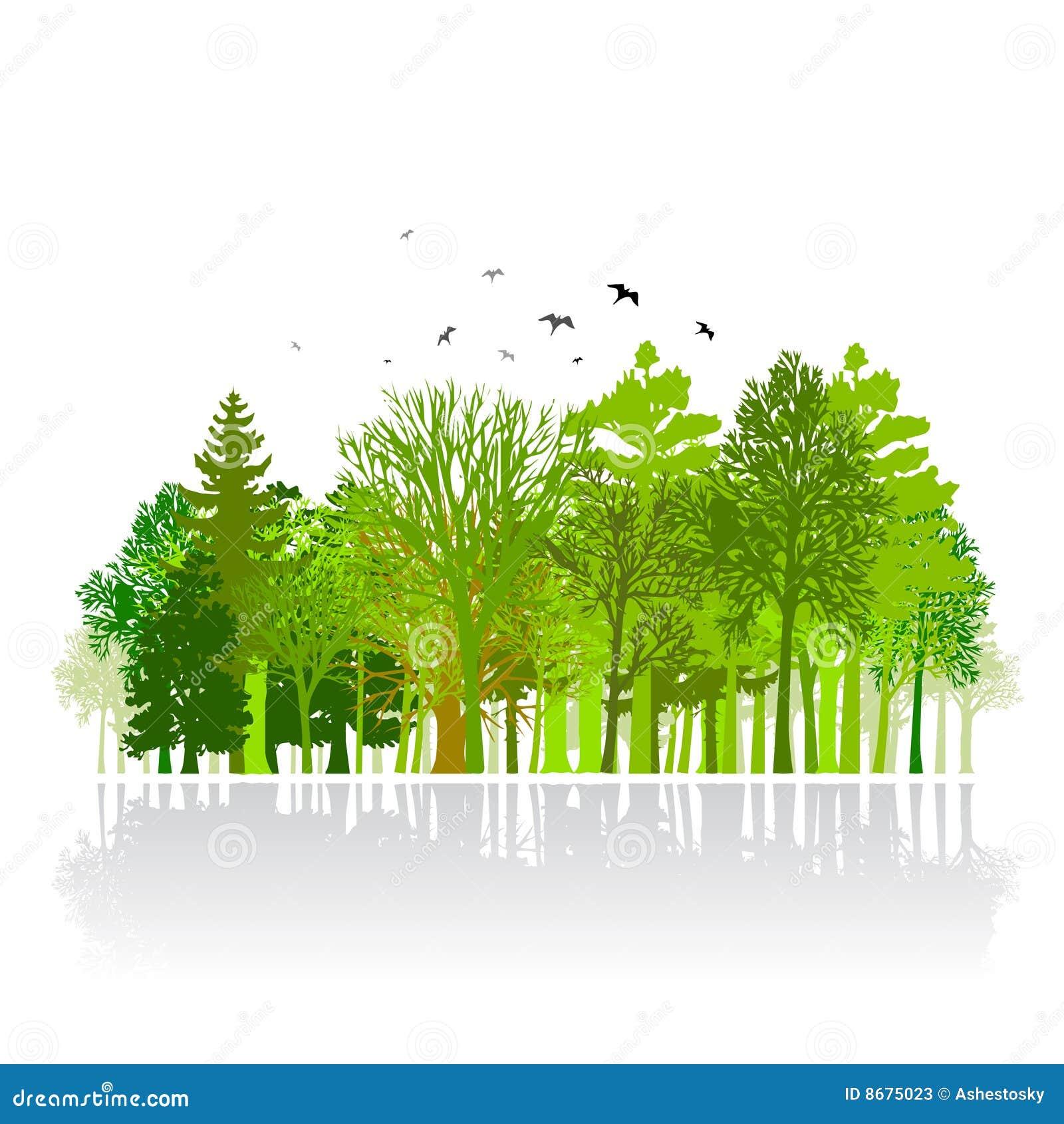 Groene park kleine houten illustratie