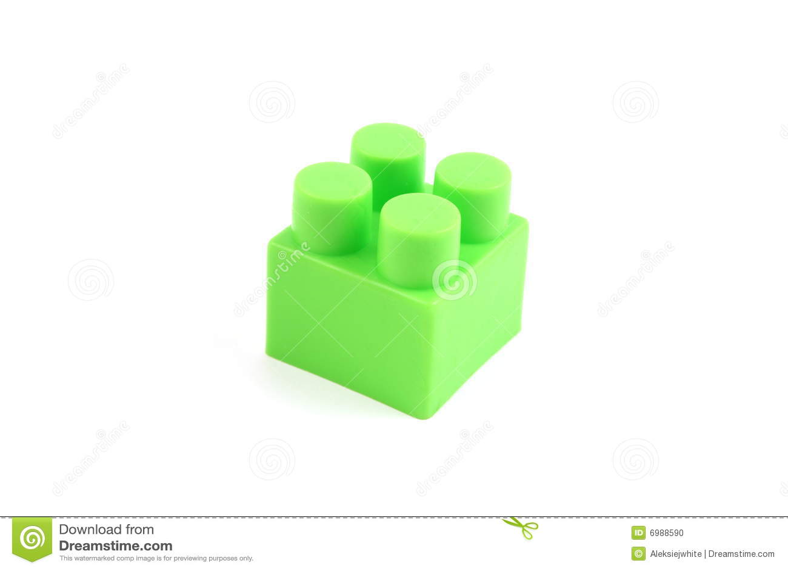 Groene plastic stuk speelgoed baksteen