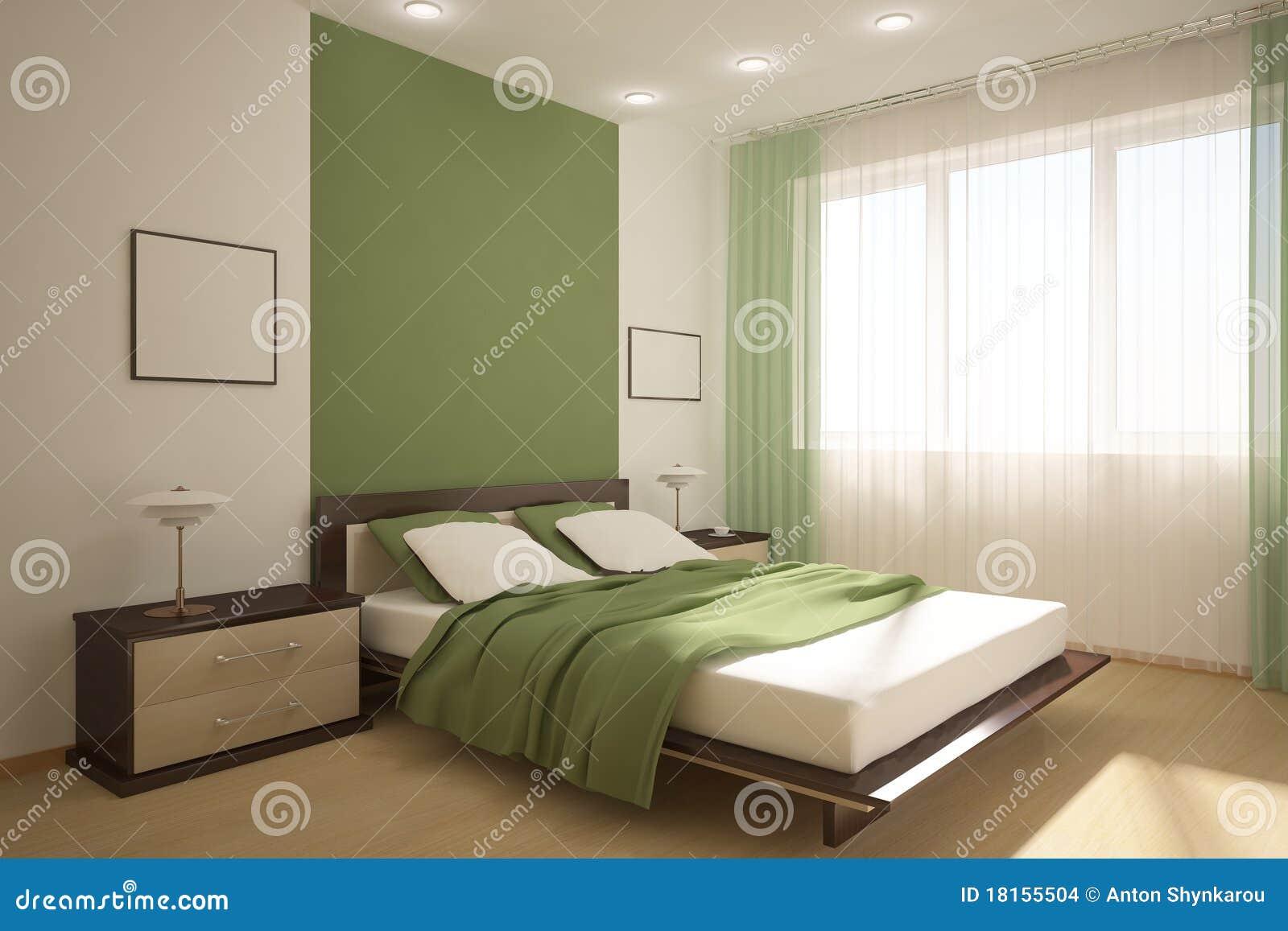 Groene slaapkamer stock afbeeldingen   afbeelding: 18155504