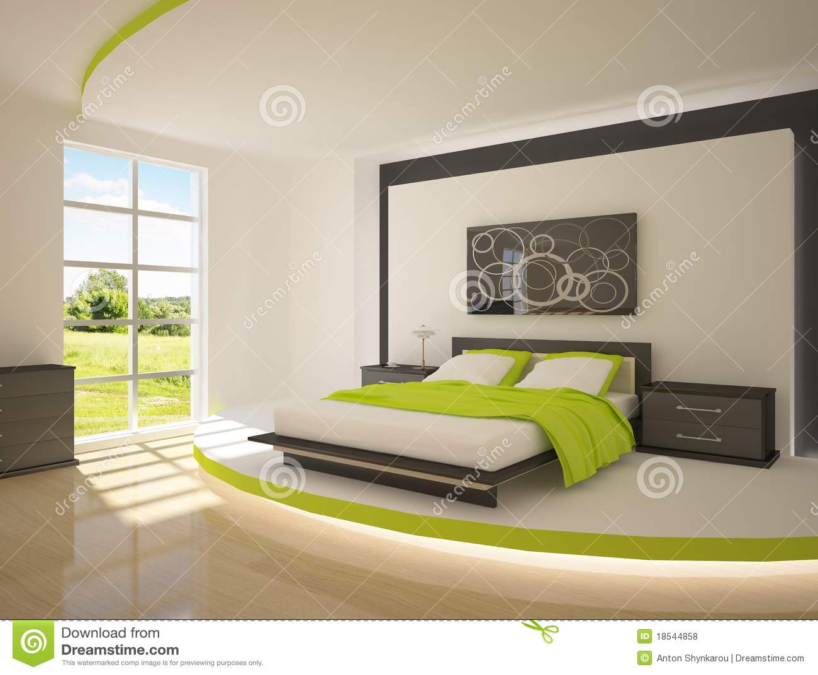 Groene slaapkamer stock illustratie afbeelding bestaande uit modern 18544858 - Moderne slaapkamer met kleedkamer ...