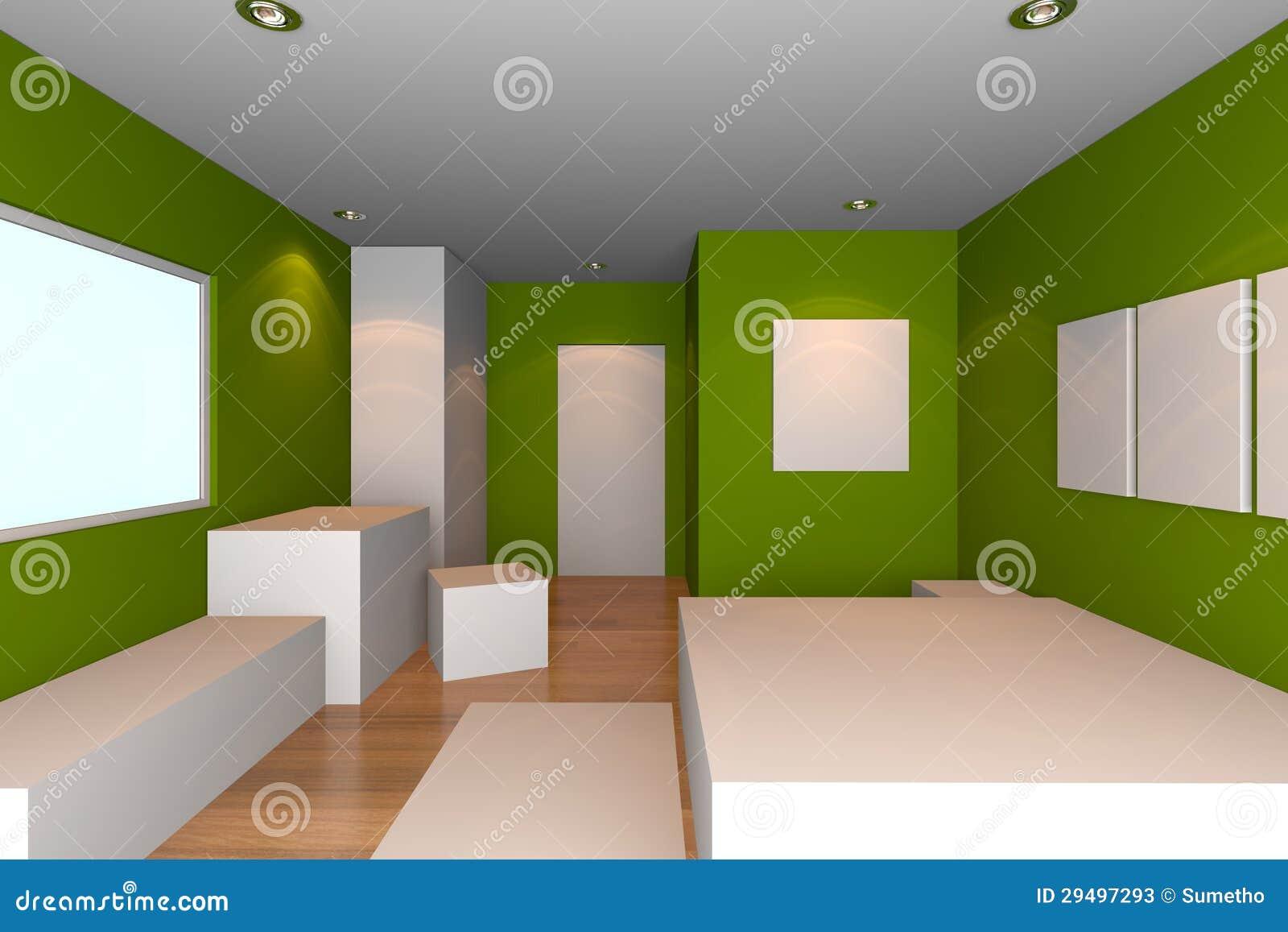 Groene Slaapkamer Stock Fotos - Afbeelding: 29497293