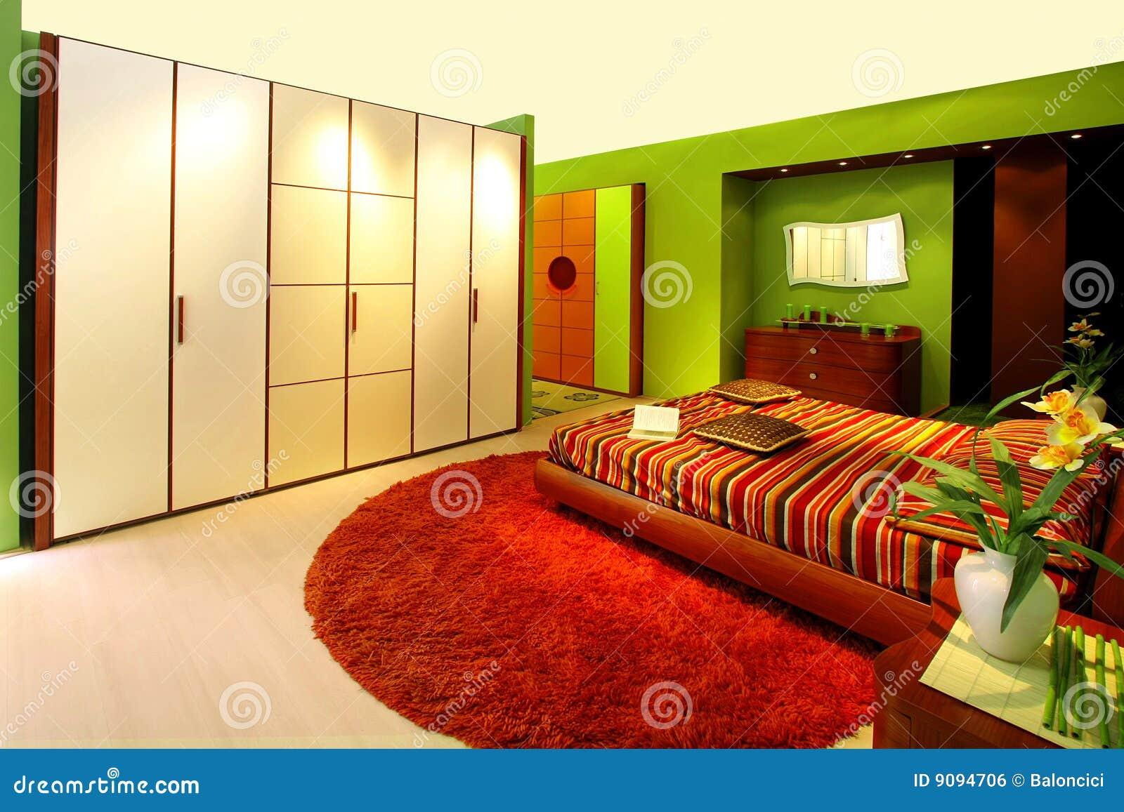 Groene Slaapkamer Royalty-vrije Stock Afbeelding - Afbeelding: 9094706