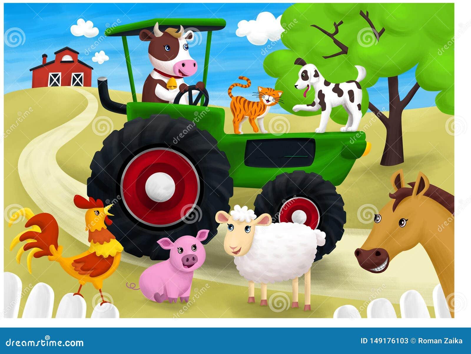 Groene tractor en vele dieren op mijn landbouwbedrijf , illustratie