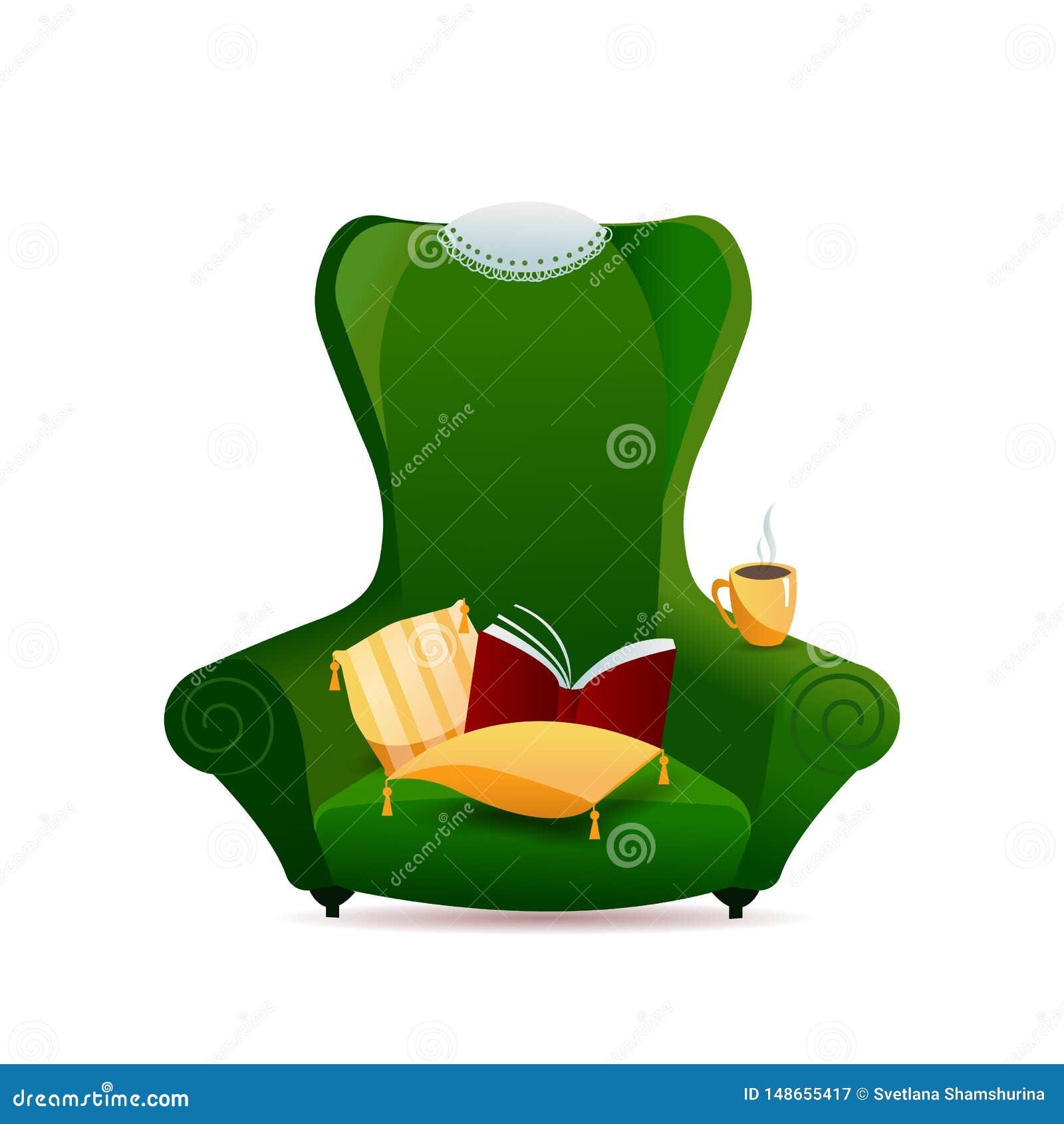 Groene uitstekende bankleunstoel met gouden hoofdkussen met leeswijzers en kantservet op rug van stoel op witte achtergrond gradi