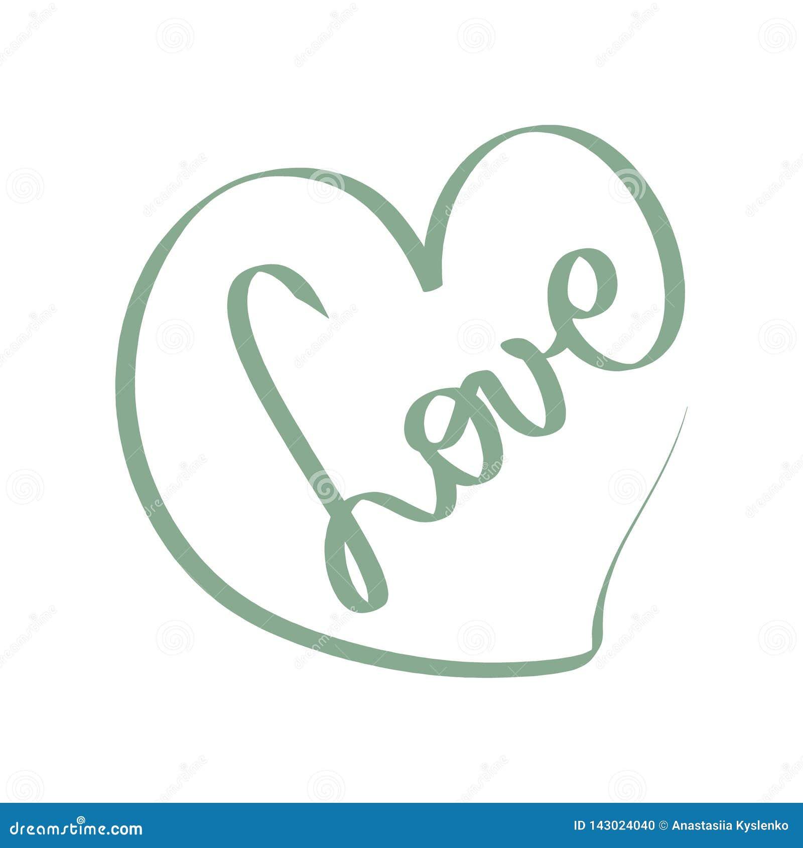 Groene Vectorliefdeillustratie Romantisch teken Zwarte hartkaart liefdepictogram Verwarde grungy ronde getrokken gekrabbelhand