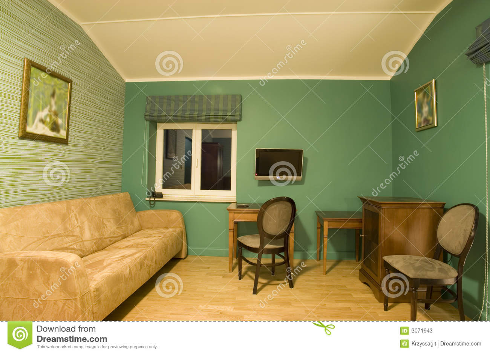 Groene woonkamer stock afbeelding. Afbeelding bestaande uit screen ...