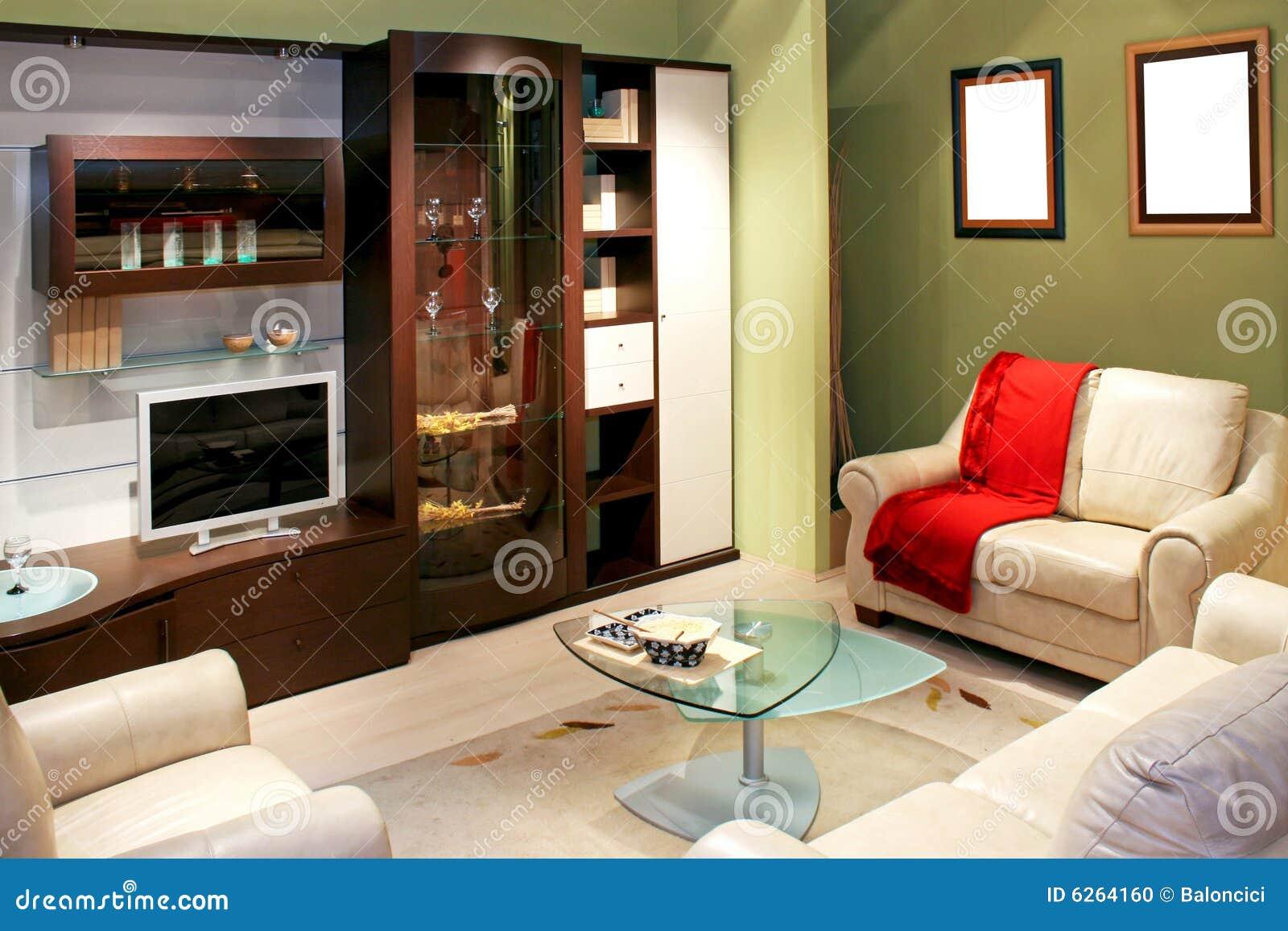 Groene woonkamer stock foto   afbeelding: 6264160