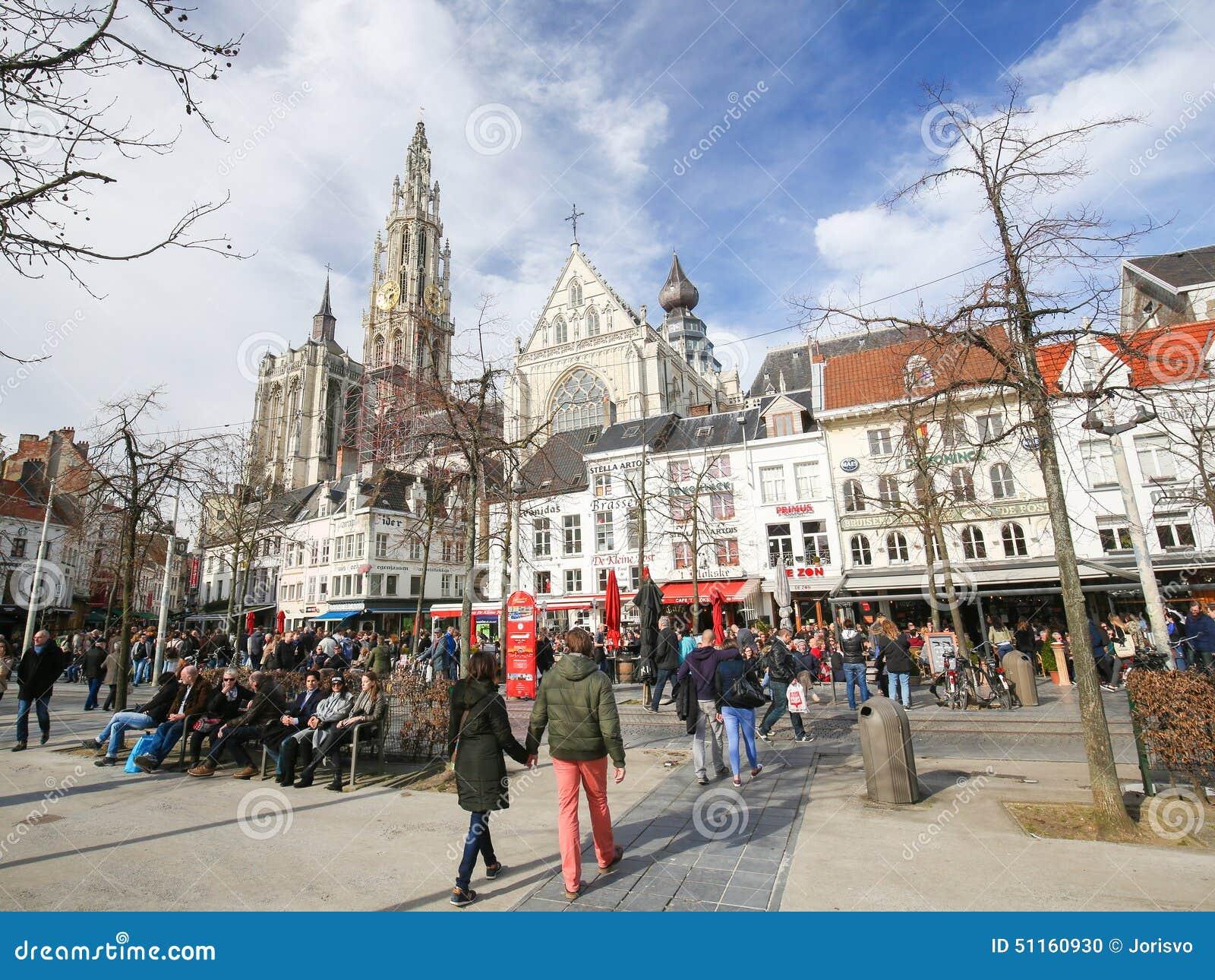 Groenplaats και καθεδρικός ναός της κυρίας μας στην Αμβέρσα, Βέλγιο