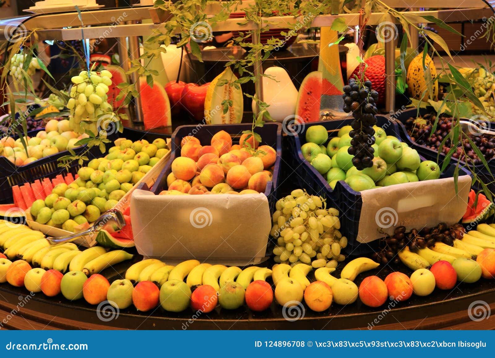 Groentehandelaar Fruitwinkel Vers fruit Fruitmarkt Kruidenierswinkelopslag