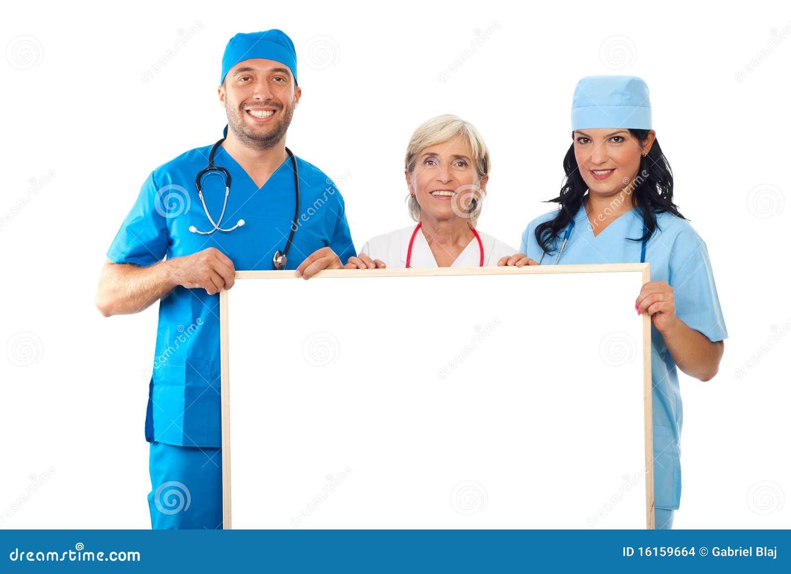 Groep artsen die banner houden