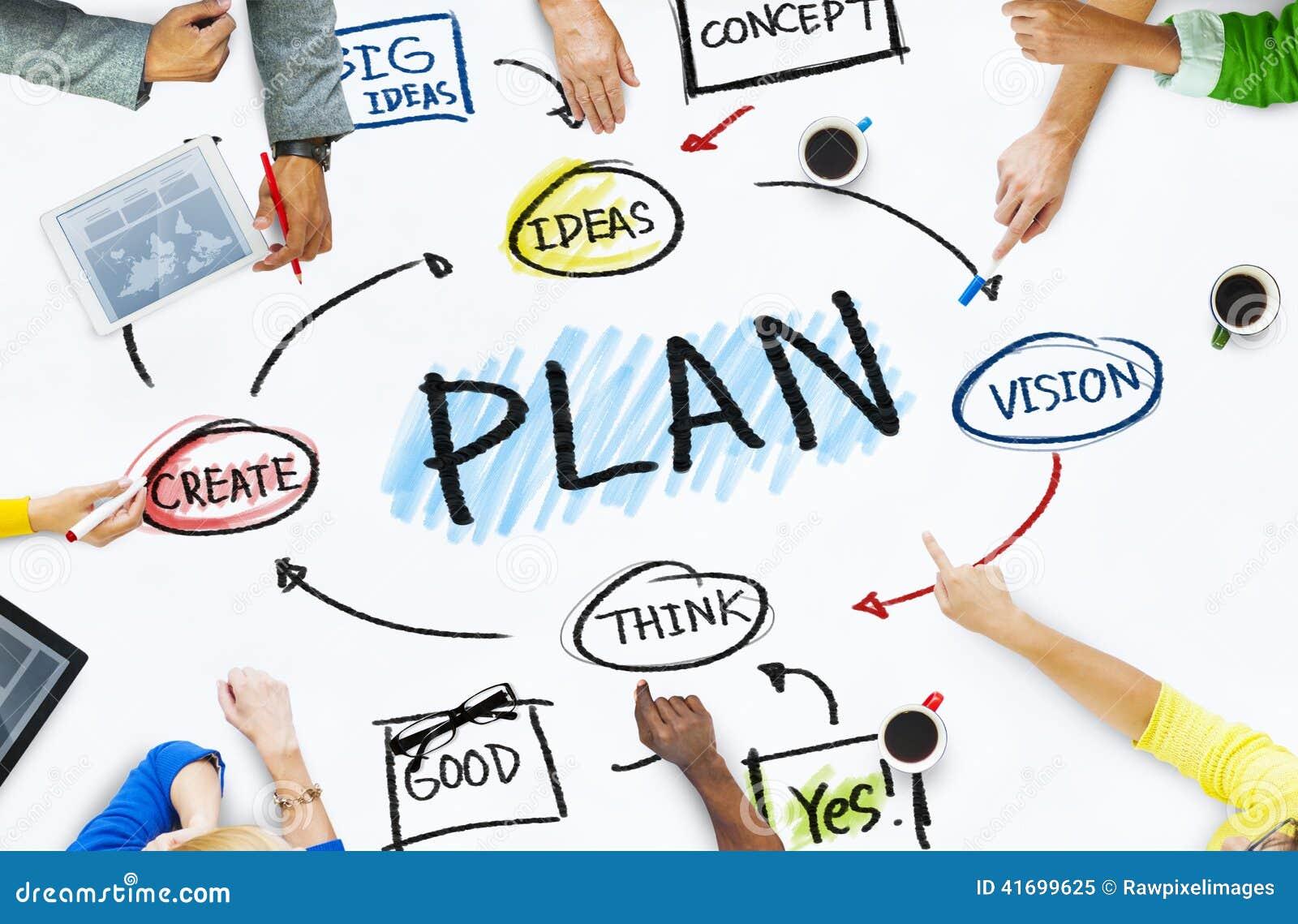 groep bedrijfsmensen in een vergadering over planning
