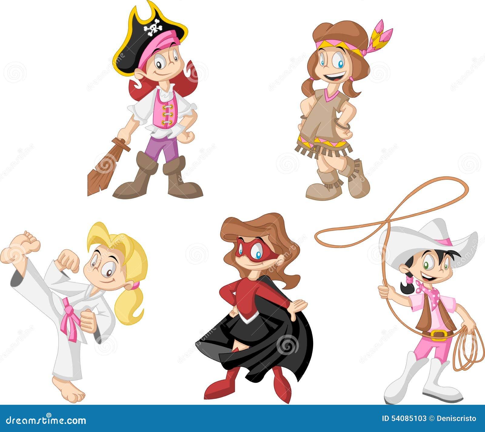 Groep beeldverhaalmeisjes