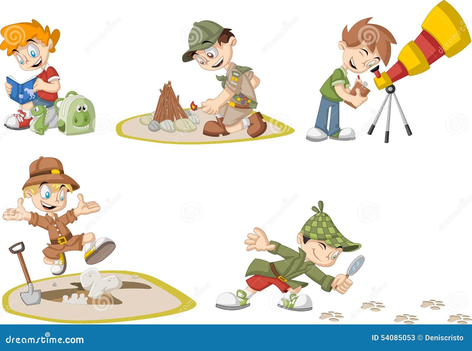 Groep de jongens van de beeldverhaalontdekkingsreiziger