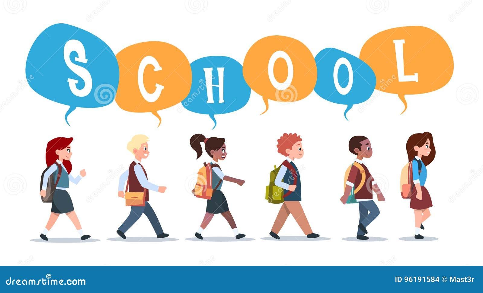 Groep die het Ras van de Leerlingenmengeling terug naar Schoolschoolkinderen de lopen isoleerde Diverse Kleine Primaire Studenten