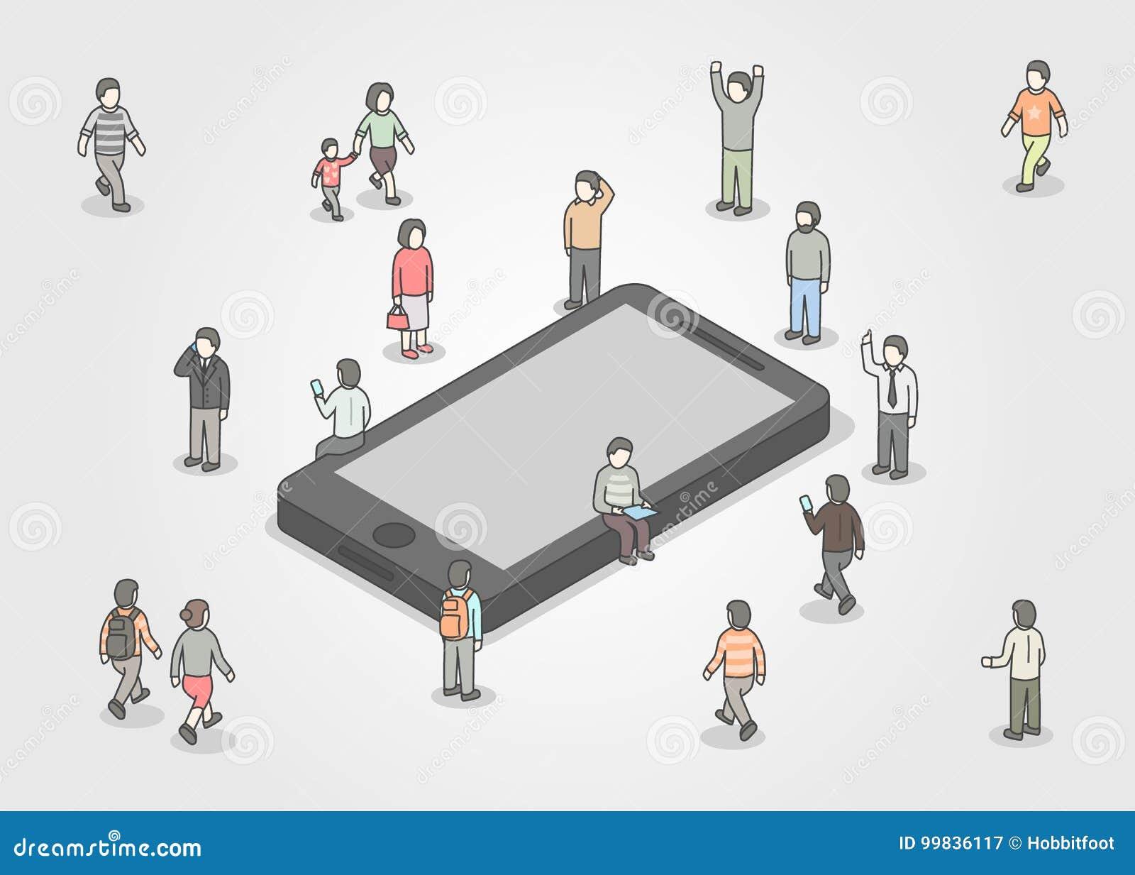 Groep die mensen zich rond smartphone bevinden Sociaal netwerk en media concept Isometrisch ontwerp