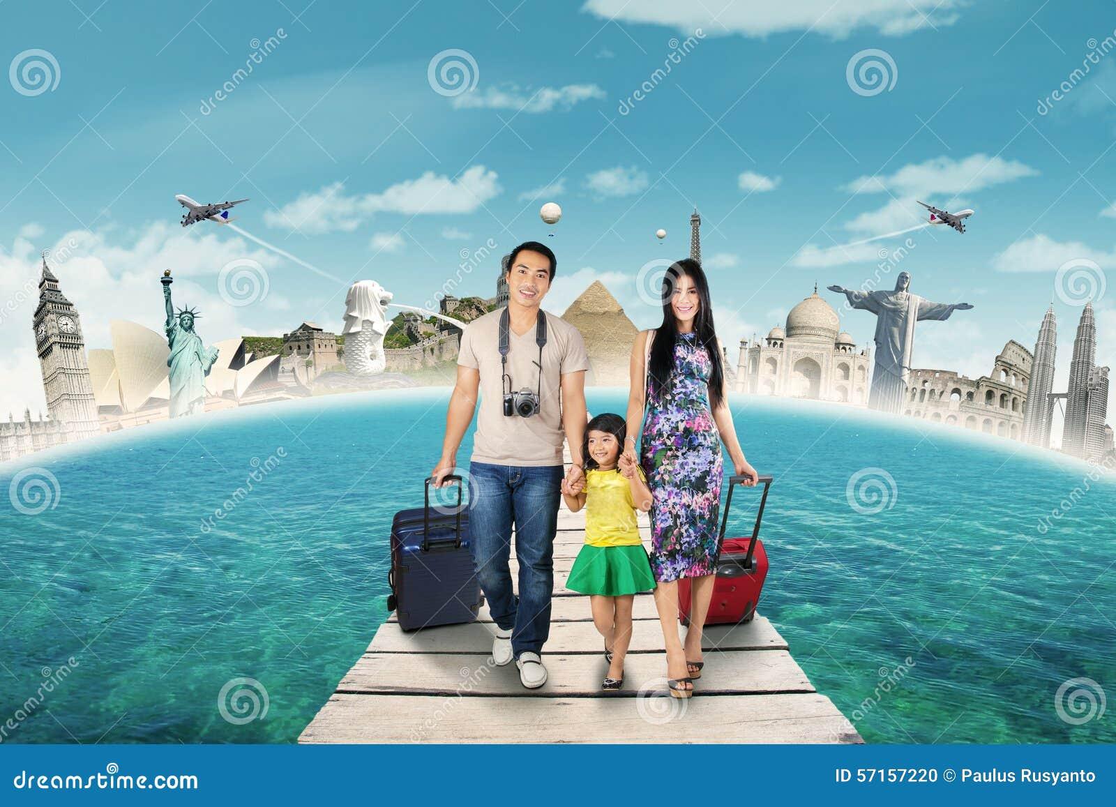 Groep die toerist naar het wereldmonument reizen