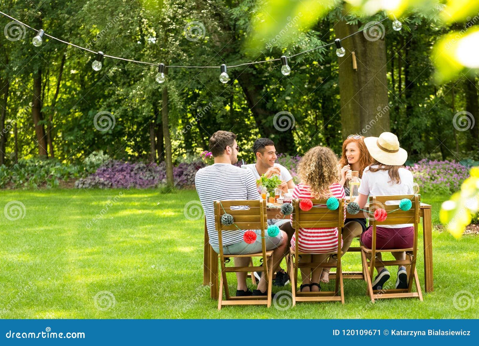 Groep gelukkige vrienden die van vergadering in de tuin genieten tijdens spr