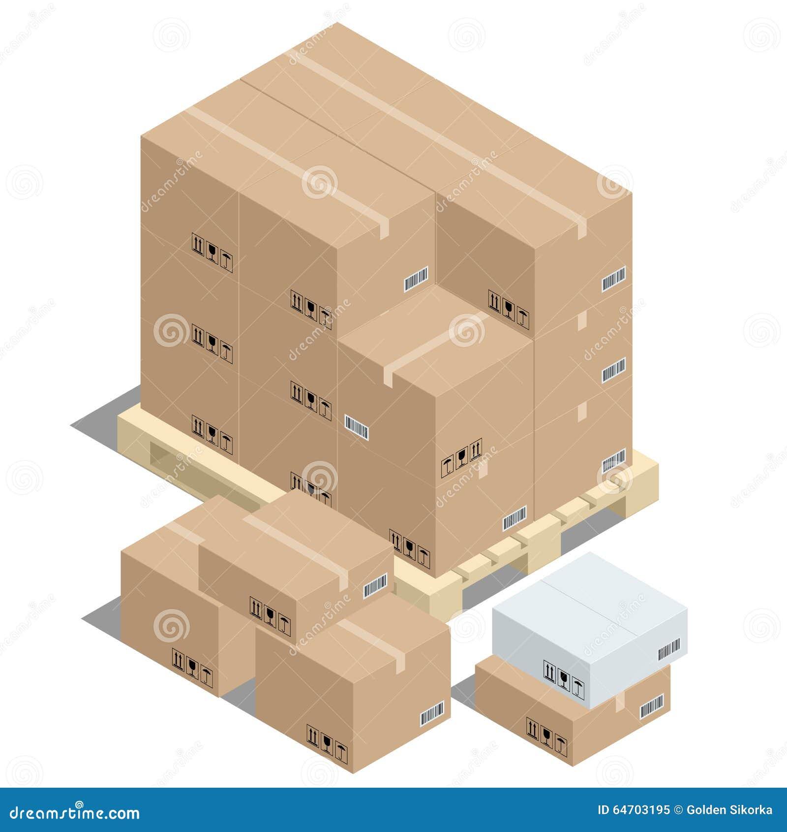 Groep gestapelde kartondozen op houten pallets stock foto afbeelding 64703195 - Foto houten pallet ...