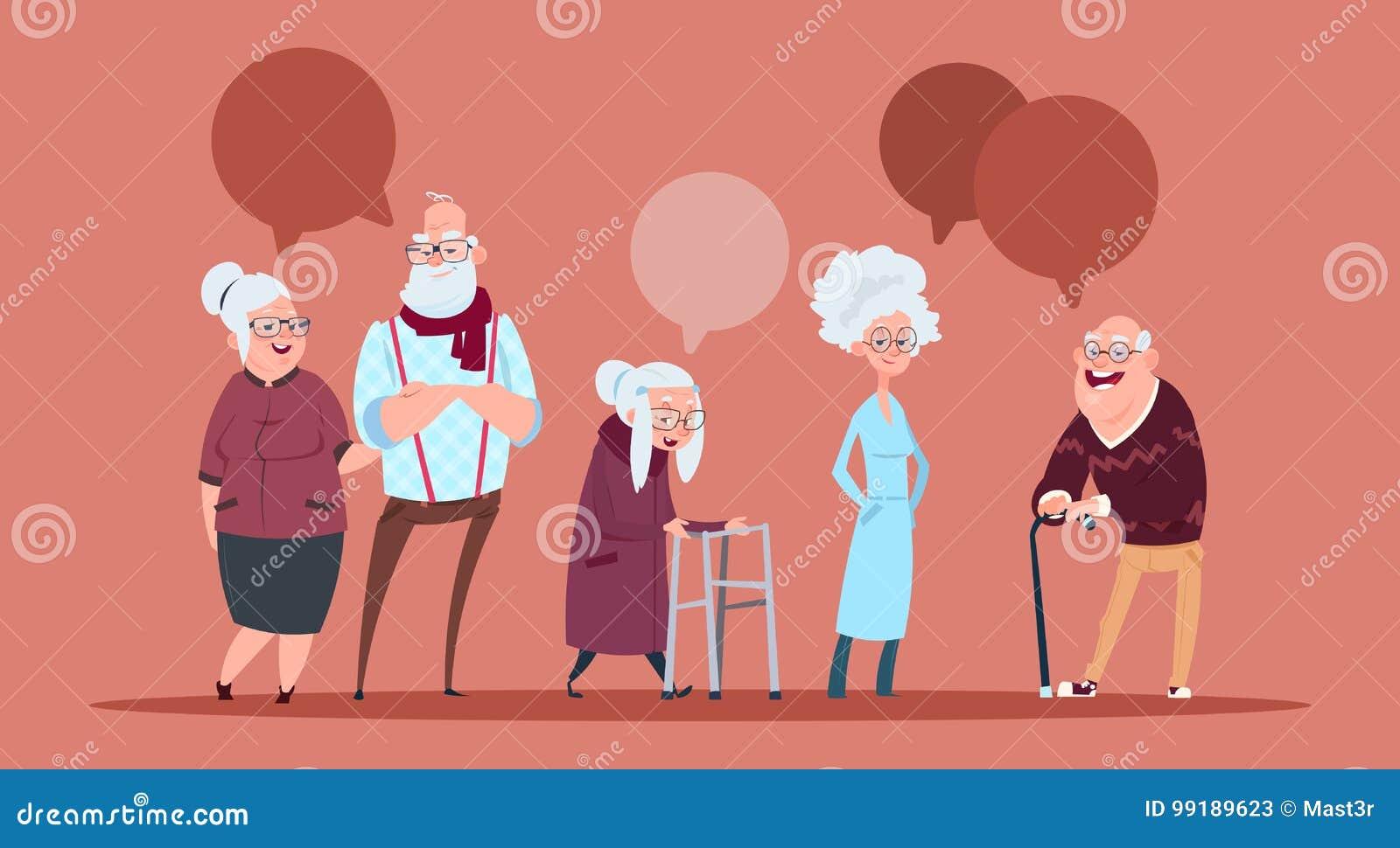 Groep Hogere Mensen met Praatjebel die met van de Stok Moderne Grootvader en Grootmoeder Volledige Lengte lopen