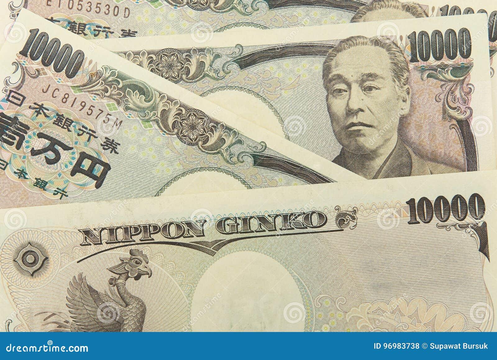 Groep Japans bankbiljet 10000 Yenachtergrond