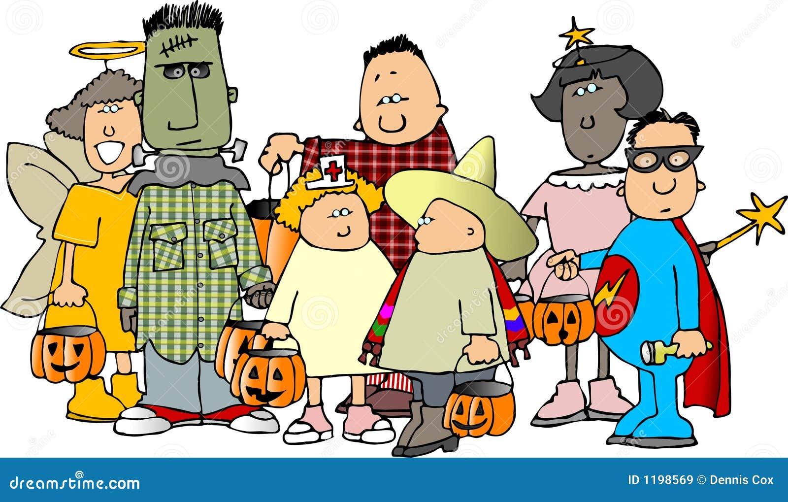 Groep jonge geitjes 1 van Halloween