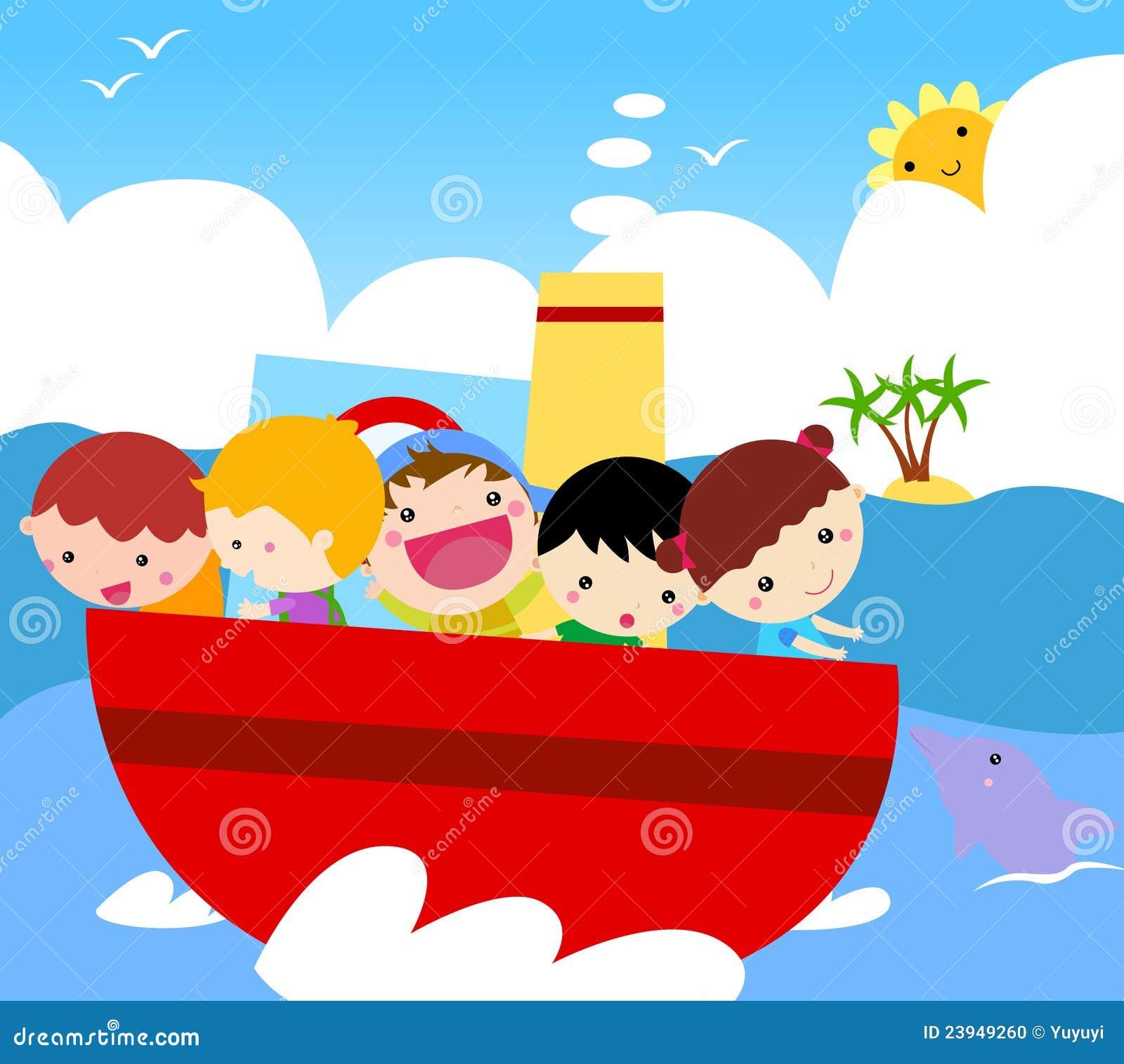Groep jonge geitjes op schip