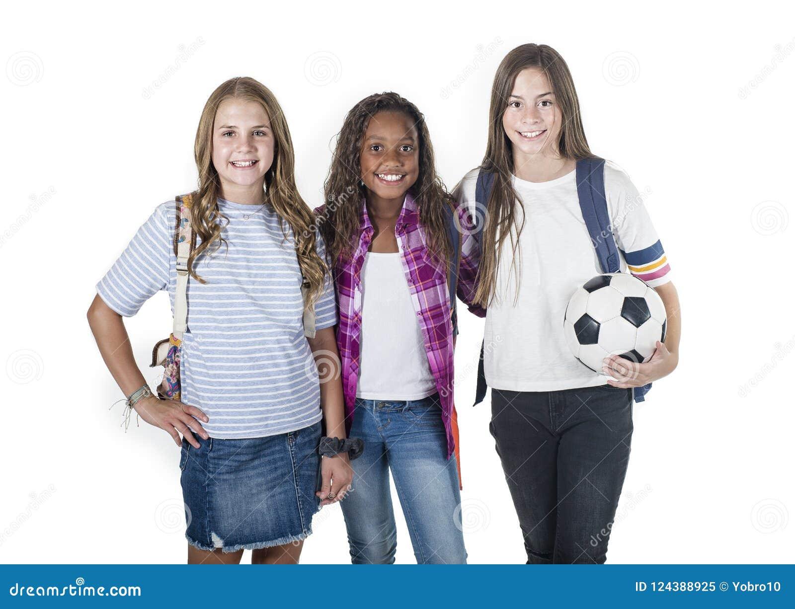 Groep leuke diverse tienerschoolstudenten