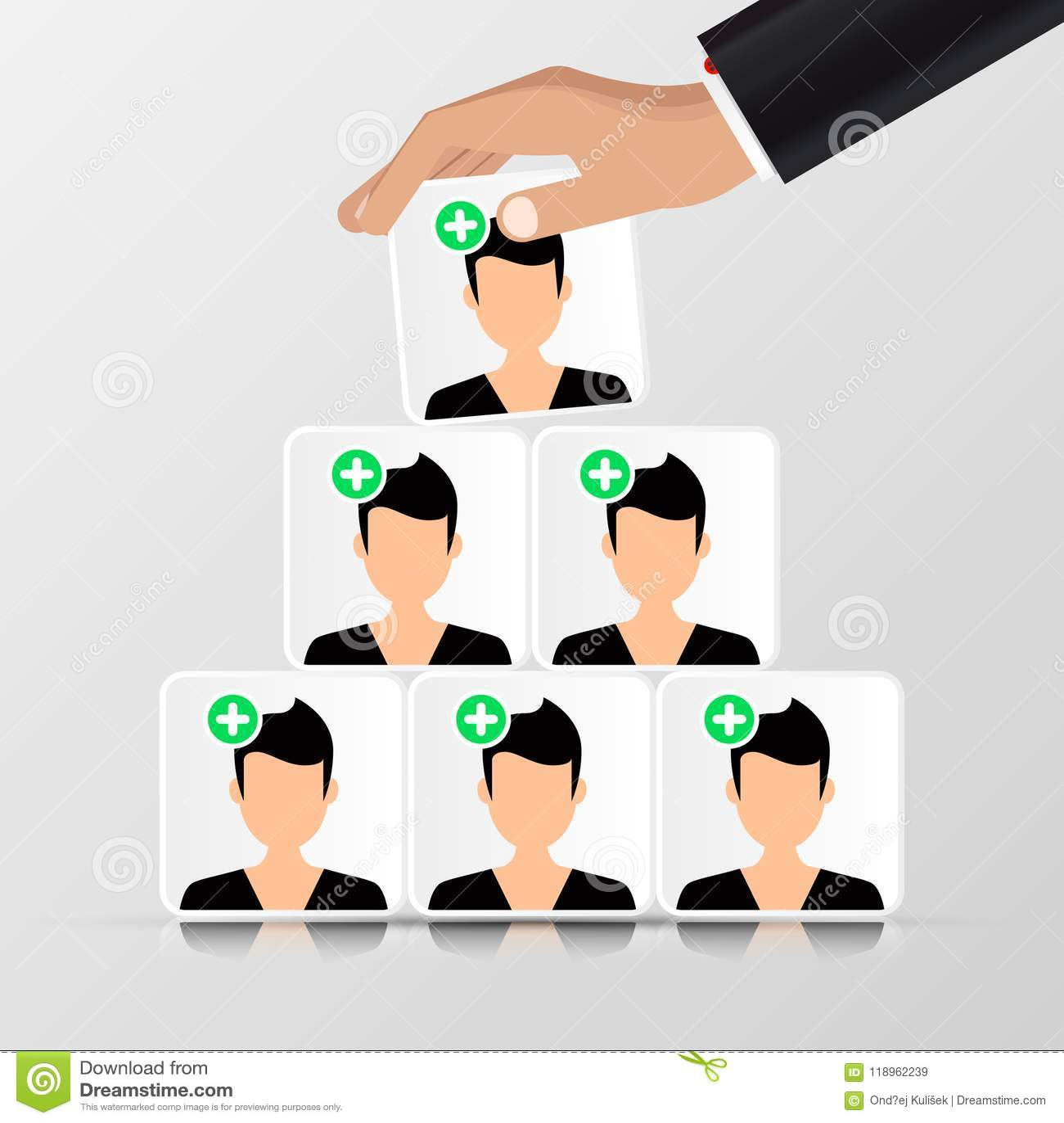 Groep mensen Bedrijfs concept piramide organisatie