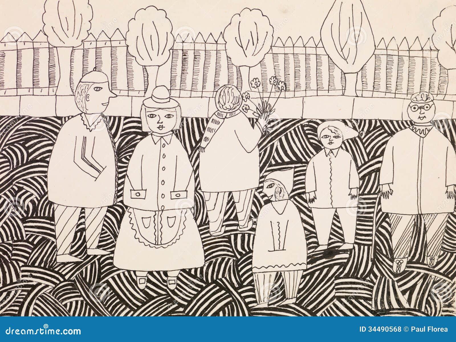 groep mensen in openlucht eigentijdse tekening royalty vrije stock foto 39 s beeld 34490568