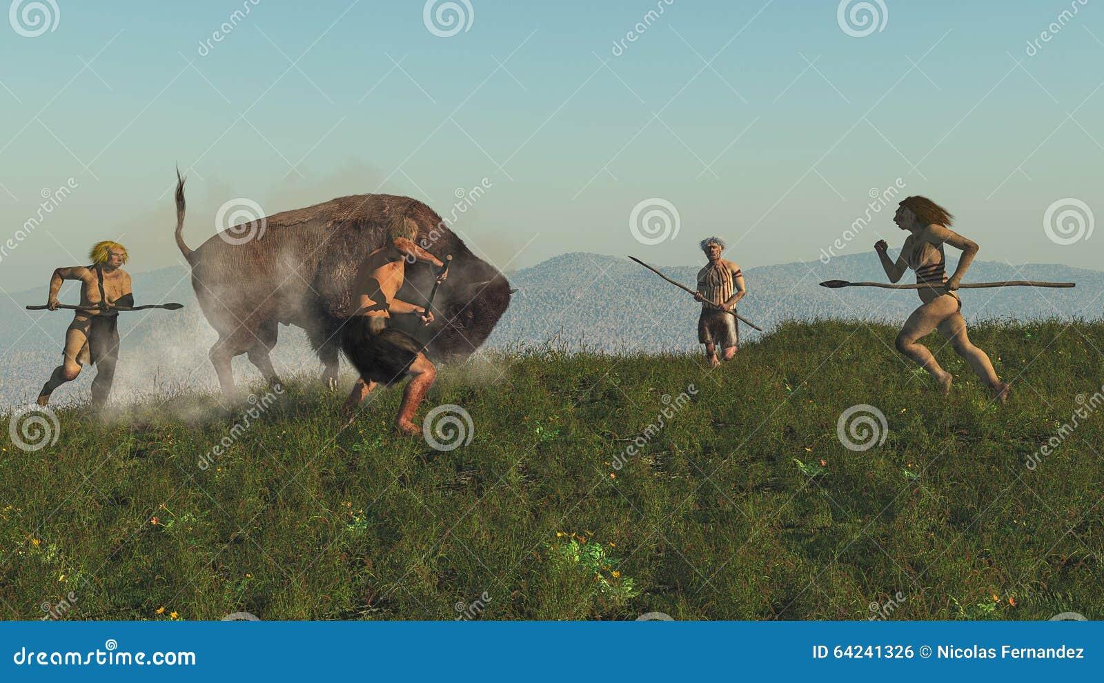 groep-neanderthaler-jagend-een-bizon-64241326.jpg