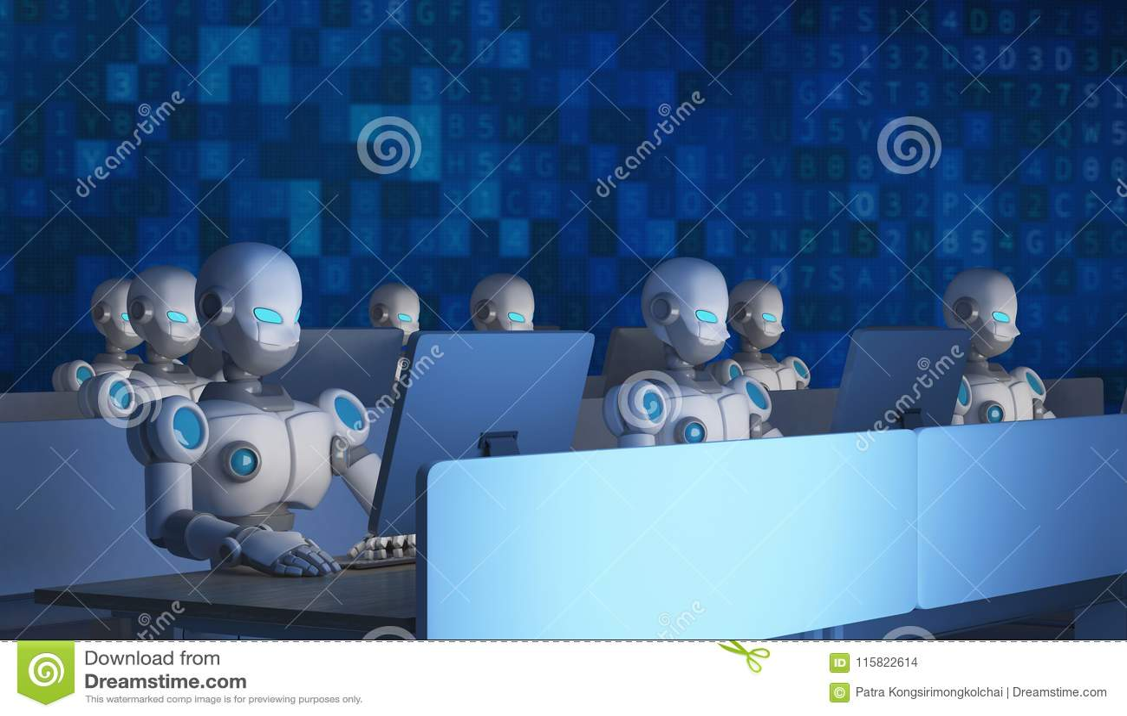 Groep robots die computers met gegevenscode met behulp van kunstmatig