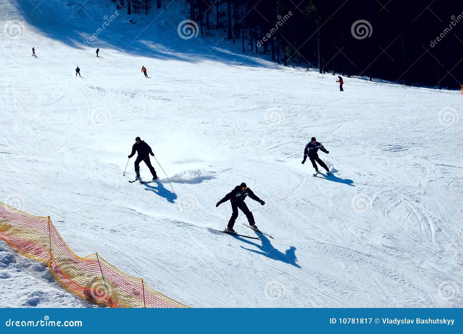 Groep skiërs