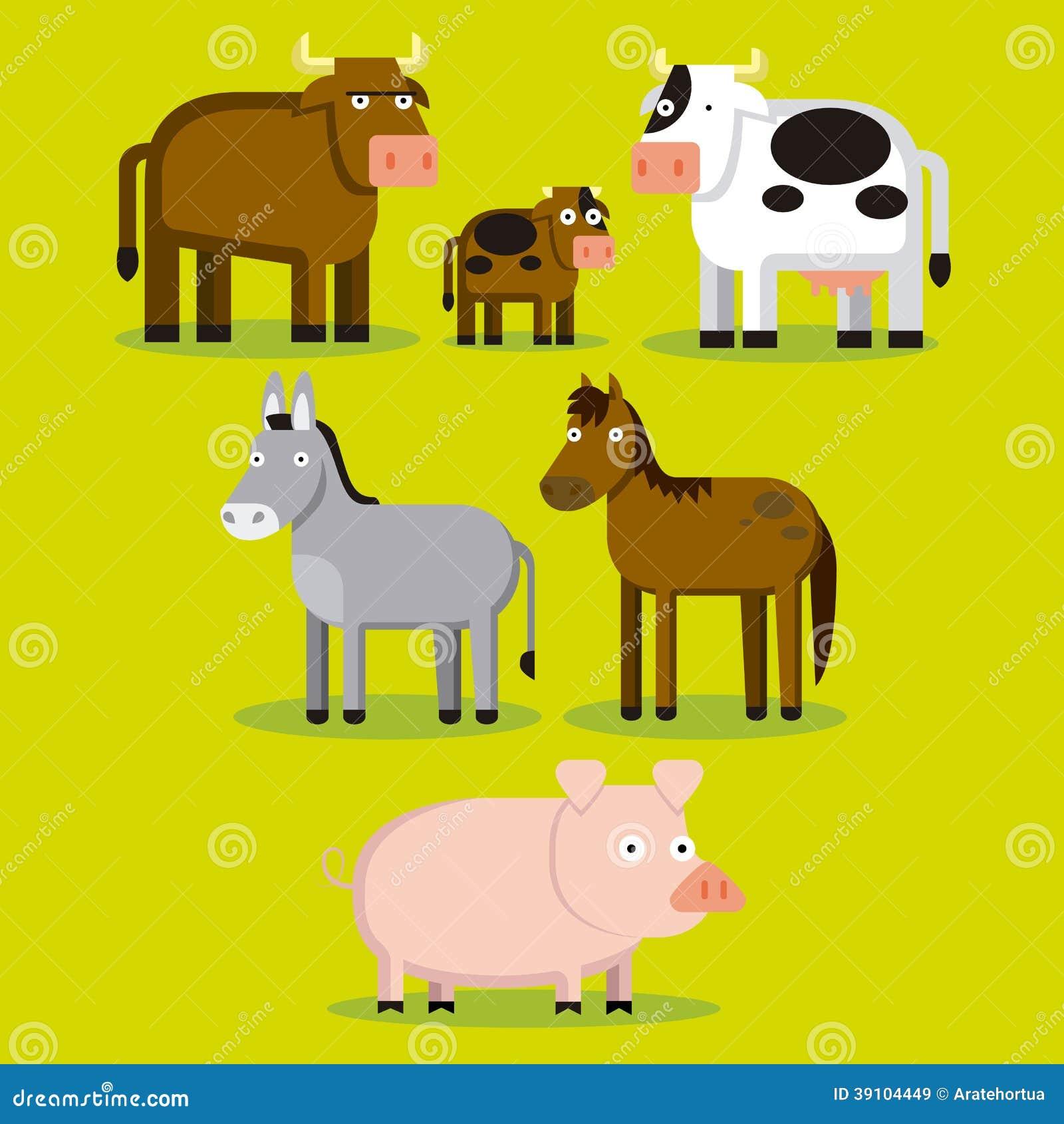 Groep Verschillende Landbouwbedrijfdieren met Kleur