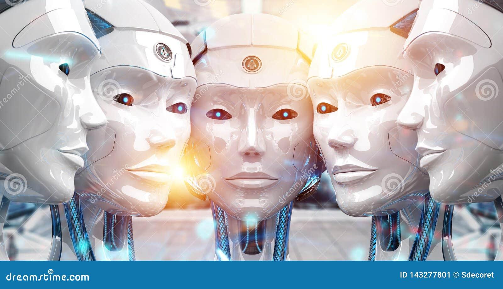 Groep vrouwelijke robots dicht bij elke anderen cyborg legerconcept het 3d teruggeven